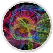 Round Beach Towel featuring the digital art Abstract Virus Budding Painterly 1 by Russell Kightley