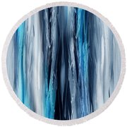 Abstract Waterfall Turquoise Flow Round Beach Towel