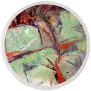 Round Beach Towel featuring the painting Abstract With Cadmium Red by Betty Pieper