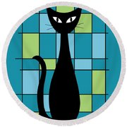 Abstract With Cat In Teal Round Beach Towel