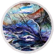 Round Beach Towel featuring the painting Abstract Wolf by Lil Taylor