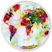 Abstract World Map Round Beach Towel