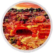 Cave In Canyon Dechelly National Park - Sunset Round Beach Towel by Bob and Nadine Johnston