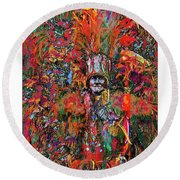 Abstracted Mummer Round Beach Towel