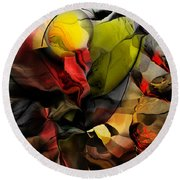 Abstraction 122614 Round Beach Towel by David Lane