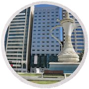 Round Beach Towel featuring the photograph Abu Dhabi Al Ittihad Square by Steven Richman