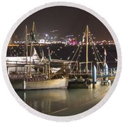 Round Beach Towel featuring the photograph Abu Dhabi At Night by Andrea Anderegg