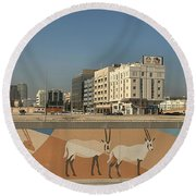 Abu Dhabi Outskirts Round Beach Towel