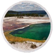 Abyss Pool And Yellowstone Lake Round Beach Towel by Sue Smith