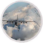 Ac-130h-u Gunship Aircraft Round Beach Towel