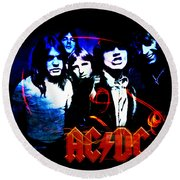 Ac/dc  Round Beach Towel by Absinthe Art By Michelle LeAnn Scott