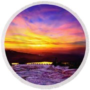 Acadia National Park Cadillac Mountain Sunrise Forsale Round Beach Towel