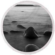 Acadia National Park Shoreline Sunrise Wakeup Black And White Round Beach Towel