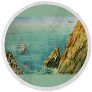 Acapulco Cliff Diver Round Beach Towel by Frank Hunter