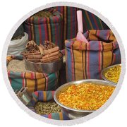 Round Beach Towel featuring the photograph Acco Acre Israel Shuk Market Spices Stripes Bags by Paul Fearn