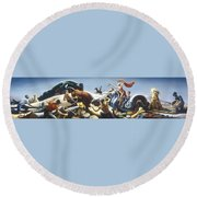 Achelous And Hercules Round Beach Towel by Thomas Benton