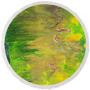 Acid Green Abstract Round Beach Towel