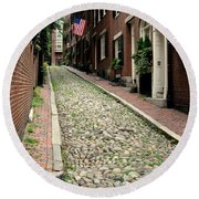 Acorn Street Boston Round Beach Towel by Kenny Glotfelty