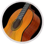 Acoustic Guitar Round Beach Towel by Gill Billington