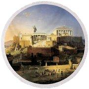 Acropolis Of Athens Round Beach Towel