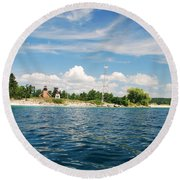 Across The Bay To The Light Round Beach Towel