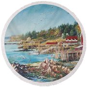 Across The Bridge Round Beach Towel