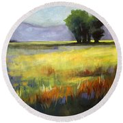 Across The Field Round Beach Towel