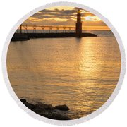 Across The Harbor Round Beach Towel by Bill Pevlor