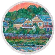 Round Beach Towel featuring the painting Across The Marsh At Pawleys Island       by Kendall Kessler