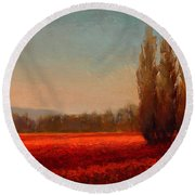 Across The Tulip Field - Horizontal Landscape Round Beach Towel
