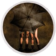 Adam And Eve Round Beach Towel by Bob Orsillo