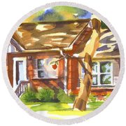 Round Beach Towel featuring the painting Adams Home by Kip DeVore