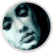 Adele In Watercolor Round Beach Towel by Laur Iduc