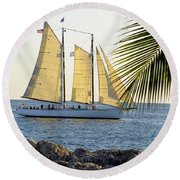 Sailing On The Adirondack In Key West Round Beach Towel