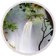 Adirondacks Waterfall Round Beach Towel by Patti Whitten