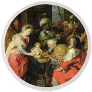 Adoration Of The Magi, 1626-29 Oil Canvas Round Beach Towel
