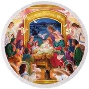 Adoring Angels Nativity Round Beach Towel