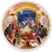 Adoring Angels Nativity Square Round Beach Towel
