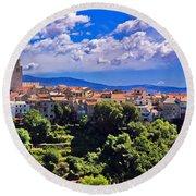 Adriatic Town Of Vrbnik Panoramic View Round Beach Towel