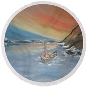 Round Beach Towel featuring the painting Adrift by Teresa White