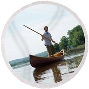 Adult Male Poling His Wood Canvas Canoe Round Beach Towel