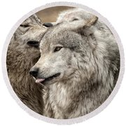 Adult Timber Wolf Round Beach Towel