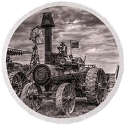 Advance Steam Traction Engine Round Beach Towel