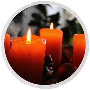 Round Beach Towel featuring the photograph Advent Candles Christmas Candle Light by Paul Fearn