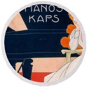 Advertisement For Kaps Pianos Round Beach Towel