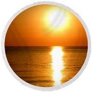 Aegean Sunset Round Beach Towel