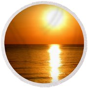 Round Beach Towel featuring the photograph Aegean Sunset by Micki Findlay