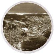Aerial  Of Monterey Calif. Oct. 25 1934 Round Beach Towel