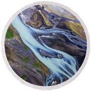 Aerial Photo Of Iceland  Round Beach Towel