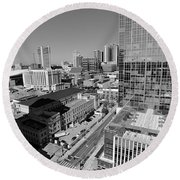 Aerial Photography Downtown Nashville Round Beach Towel by Dan Sproul